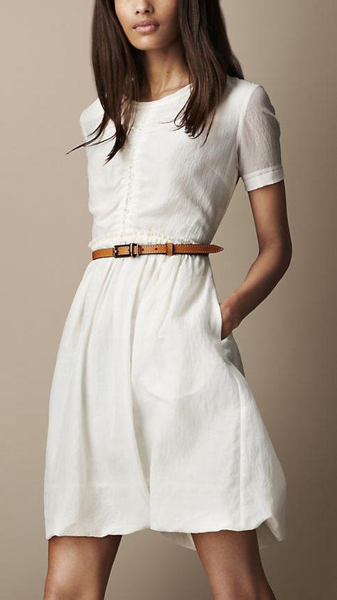 Gathered WaistSilk Cotton Dress - Burberry.