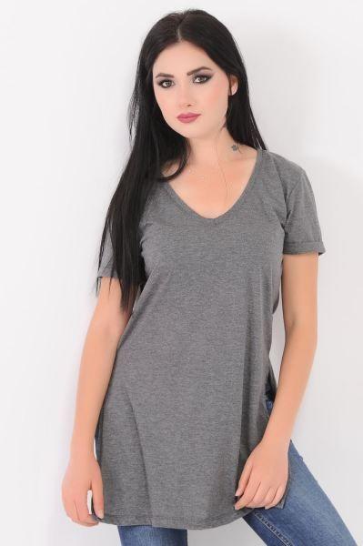 Bayan Tisort V Yaka Kesikli Gri T Shirt Kap Otantik Salas Gunluk Abiye Fashion Muhafazakar Alisveris Kombin Style Kisa Modavig V Yaka Tisort Gri