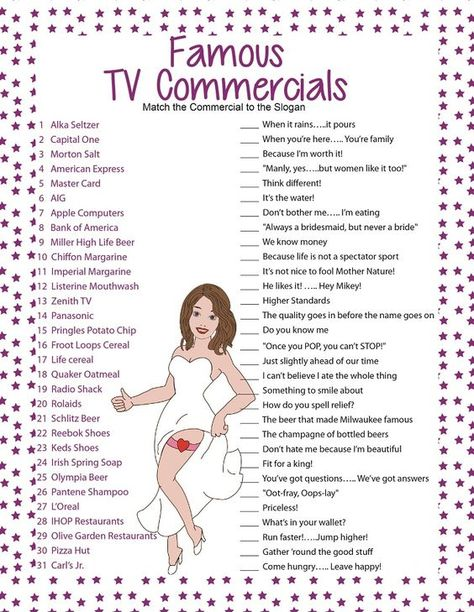 Famous TV Commercials.  Fun Bridal Shower Game