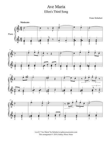 Ave Maria By Schubert Ellens Gesang Iii Level 2 Piano Sheet