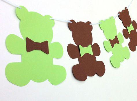Teddy Bear Banner. Large bears & bows. Baby shower, nursery decor, high chair, teddy bear picnic, birthday bunting. Lots of colors.