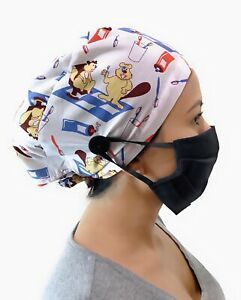 White Print Surgical Cap Women I Nurse Cap