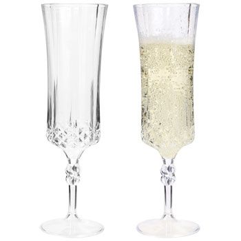 GSL 10 x Tall One Piece GOLD Glitter Clear Plastic Champagne Flutes Party