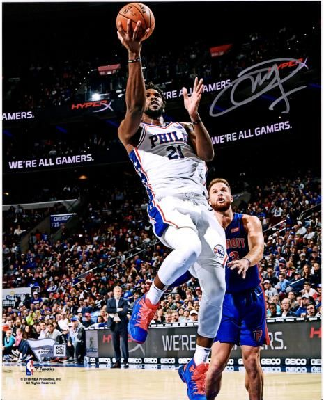 huge selection of 60e1a 2c759 Joel Embiid Philadelphia 76ers Autographed 8