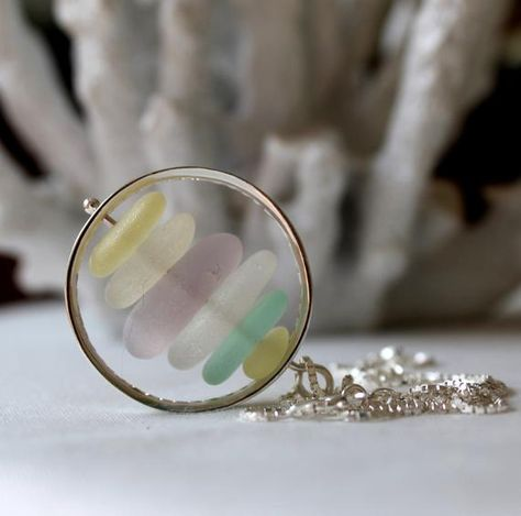 Pastel sea glass necklace cairn necklace gift for wife sea image 4