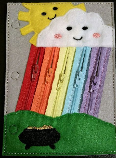 Zip the rainbow quiet book page (Basic) Diy Quiet Books, Baby Quiet Book, Felt Quiet Books, Quiet Book For Toddlers, Summer Activities For Kids, Book Activities, Toddler Activities, Indoor Activities, Quiet Book Templates