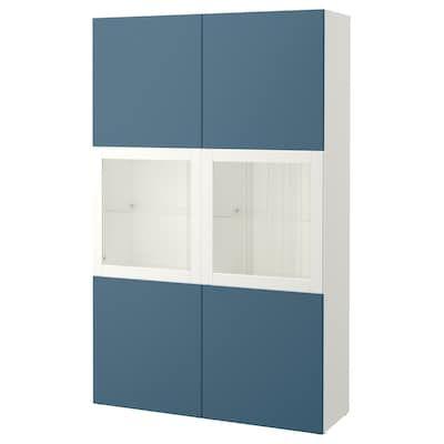 Besta Storage Combination W Glass Doors White Valviken Gray Turquoise Clear Glass Ikea Glass Door Ikea Glass Table