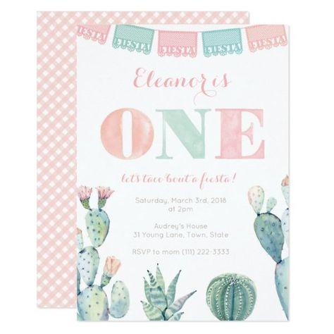 Pastel Pink Cactus 1st Birthday Fiesta Party Invitation | Zazzle.com   #1st #Birthday #Cactus #Fiesta #Invitation #Party #pastel #Pink #Zazzlecom