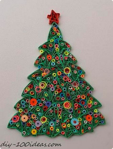 Quilling Christmas Tree - just. Arte Quilling, Paper Quilling Patterns, Quilled Paper Art, Quilling Paper Craft, Paper Beads, Quilling Ideas, Quilling Christmas, Diy Christmas Cards, Origami Christmas