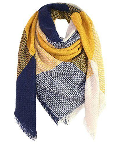 neue niedrigere Preise Freiraum suchen anerkannte Marken SAMGOO Damen Klassisch Plaid Schal Knitting Warm Winter ...