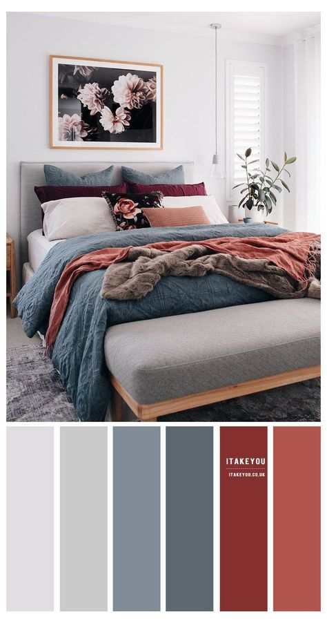 Grey Bedroom Colors, Bedroom Colour Palette, Best Colour For Bedroom, Grey Orange Bedroom, Bedroom Colour Schemes Neutral, Burgundy Bedroom, Colourful Bedroom, Apartment Color Schemes, Grey Teal Bedrooms