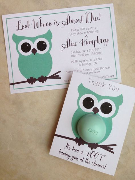 Owl Themed Baby Shower Invitation 5x7 Printable Matching Eos Lip
