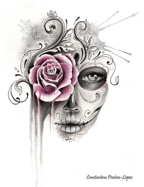 Rose Sugar Skull Framed Art Print by constantina Pretty Skull Tattoos, Feminine Skull Tattoos, Skull Tattoo Flowers, Skull Rose Tattoos, Skull Sleeve Tattoos, Beautiful Tattoos, Half Sleeve Tattoos Drawings, Flower Skull, Sugar Skull Sleeve