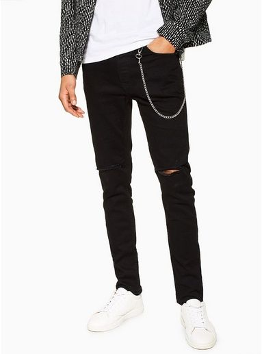 Mens Black Double Knee Rip Jeans With Chain Ripped Knee Jeans Ripped Jeans Men Ripped Jeans