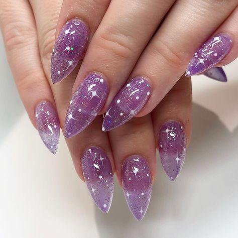 "Vanessa Cooper |LA Nail Artist on Instagram: ""✨So simple but sooo my favorite 😍 purple and sparkles... all a girl needs!💜✨ On @beebondstyle 😘💕 • Level 3 Full Set 💅🏼 • • • #purplenails…"""