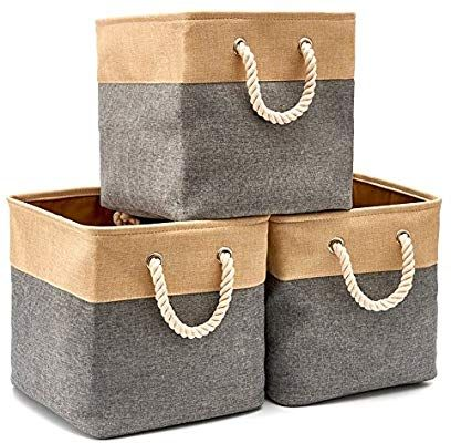 Amazon Com Ezoware 3 Pack Collapsible Storage Bins Basket Foldable Canvas Fabric Tweed Storage Cubes Set Collapsible Storage Bins Cube Storage Storage Bins