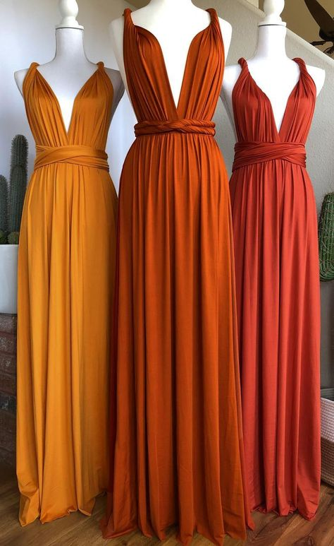 Burnt Orange Bridesmaid Dresses, Wedding Bridesmaid Dresses, Burnt Orange Dress, Colorful Bridesmaid Dresses, Rust Orange, Burnt Orange Color, Infinity Dress Bridesmaid, Orange Color Schemes, Bohemian Bridesmaid