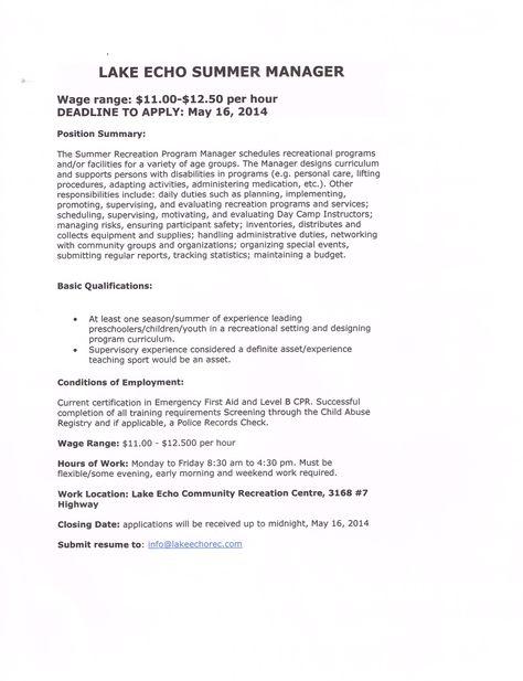 Employment Amp Volunteer Recruitment Lake Echo ...