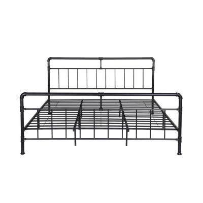 Noble House Mowry Industrial King Size Flat Black Iron Bed Frame Black Iron Beds King Size Bed Frame King Bed Frame