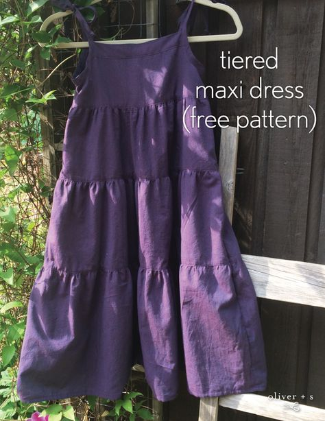 Learn how to make a tiered maxi dress using the Oliver + S Popover Sundress (free pattern!) in this fun tutorial. Learn how to make a tiered maxi dress using the Oliver + S Popover Sundress (free pattern!) in this fun tutorial. Summer Dress Patterns, Girl Dress Patterns, Skirt Patterns, Blouse Patterns, Sewing Patterns Girls, Coat Patterns, Maxi Dress Tutorials, Sundress Pattern, Girls Maxi Dresses