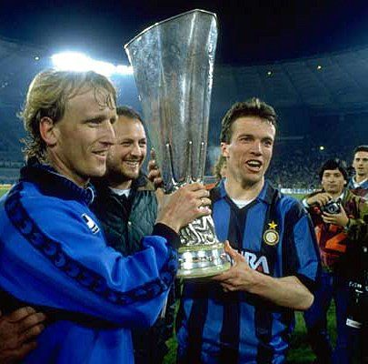 Andreas Brehme And Lothar Matthäus With The Uefa Cup 1991 Inter Milan Michael Ballack Andrea