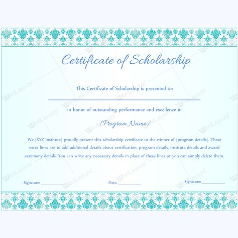 Scholarship Certificate Template doc - certificate of excellence wording