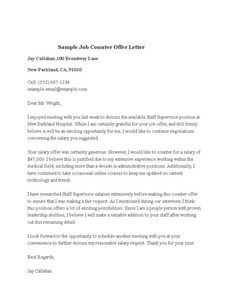 Sample Job Counter Offer Letter How To Make A Sample Job Counter