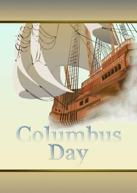 Columbus Day Sketch Of Spanish Galleon In The Mist Card Ad Ad Sketch Day Columbus Spanish
