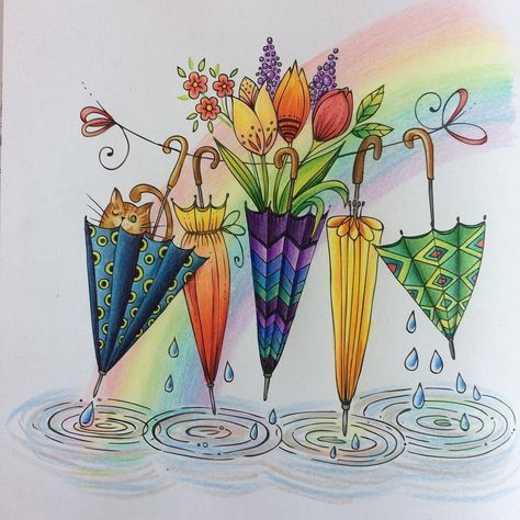 Another quick happy spring mood picture by #ritaberman  #meinfrühlingsspaziergang #colouring #coloringbook #irojitenpencils