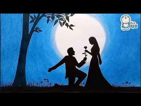 How To Draw Scenery Of Moonlight Night Scene With Pencil Sketch Step By Step Easy Drawing Video Colorful Drawings Oil Pastel Drawings Valentines Day Drawing
