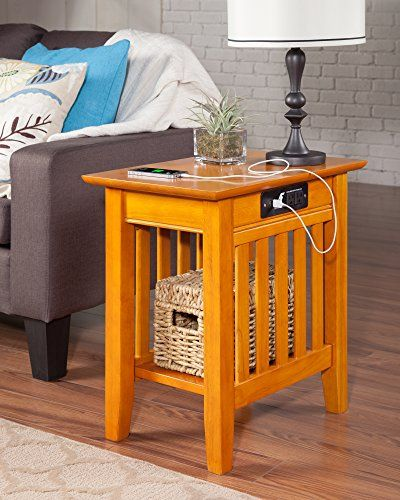 Atlantic Furniture AH13217 Mission Side Chairside Table Caramel Latte