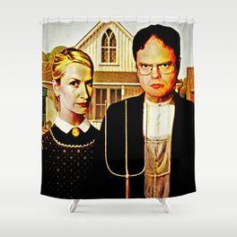 Dwight Schrute Angela Martin The Office American Gothic Shower Curtain American Gothic Dwight And Angela Dwight Schrute