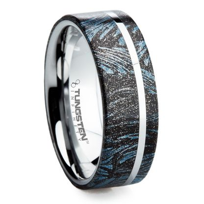 Dress Up Your Man With This Tungsten Carbide Wedding Band Mokume Gane Inlay Mensweddingbands 8 Mm