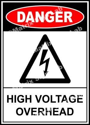 High Voltage Overhead Sign High Voltage Signs Sticker Sign