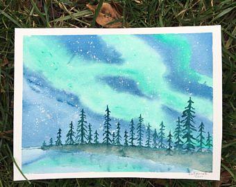 Galaxy Watercolor Postcards Set Of 5 Nebula Art Aurora