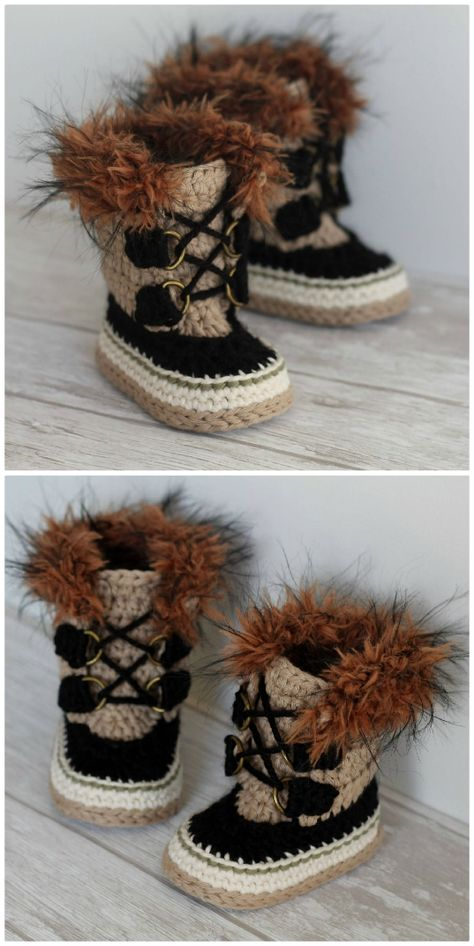 Super adorable Sorel-style furry crochet Summit Snow boot pattern for baby! These look just like Sorels! What a fun pattern and they look super warm! crafts snow boots Bundle of Baby Booties Baby Booties Knitting Pattern, Baby Shoes Pattern, Baby Knitting, Crochet Baby Clothes, Newborn Crochet, Booties Crochet, Crochet Slippers, Baby In Snow, Baby Converse