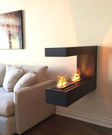 Peninsula Electric Fireplace With Water Vapor Technology Handmade Cabinet Toronto Electric Fireplace Living Room Modern Modern Electric Fireplace