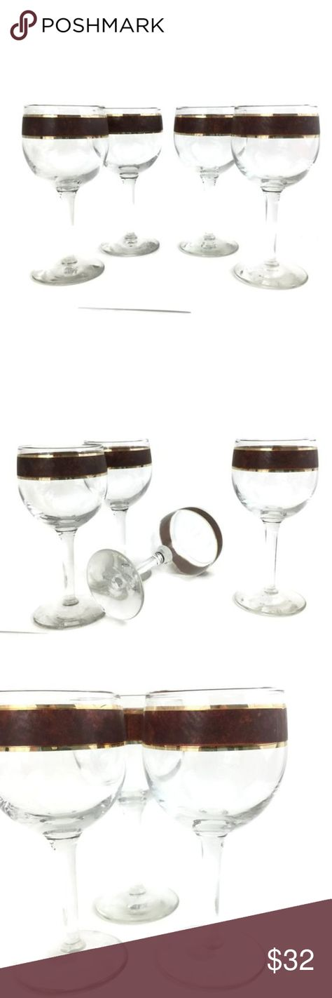 """Vintage Wine Glasses w Tortoise Band Detail Fantastic set of four wine glasses with a brown/bronze mottled or marble design accentuated with gold gild bands.  These will make a wonderful addition to any bar. They are very suitable for gifting. Give as a wedding gift, anniversary gift, hostess gift, housewarming gift or new home gift.  CONDITION Excellent condition. There are no chips. The gold gild is intact except for on one glass that has a tiny bit of loss.  DIMENSIONS 5 3/4"""" x 2 1/2"""" Dining"""