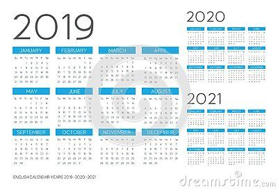 English Calendar 2019 2020 2021 Vector Text Is Outline Font Is