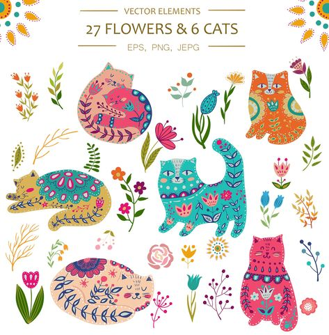 Vector Spring Cats and Plants by Olesya Agudova on @creativemarket