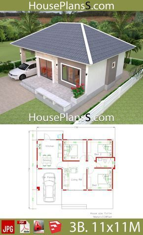 Simple House Design Plans 11x11 With 3 Bedrooms Full Plans House Plans Sam Arsitektur Arsitektur Rumah Denah Rumah