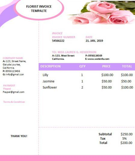 Free Florist Invoice Template Invoice Template Florist Flower Business