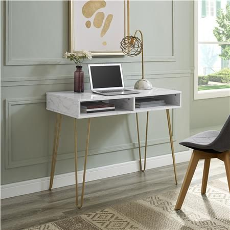 Ameriwood Furniture Athena Computer Desk With Storage White Marble Cheap Office Furniture Desks For Small Spaces Furniture