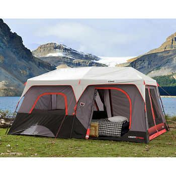 Core 10 Person Lighted Instant Cabin Tent In 2020 Cabin Tent Tent Cabin