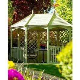 Die Sechseckige Gartenlaube Winchester Wurde Zu Einer Pavillongrosse Ausgeweitet Um Den Kunden Zufrieden Zu Stellen Holz Pavillon Gartenhaus Holz Gartenlaube