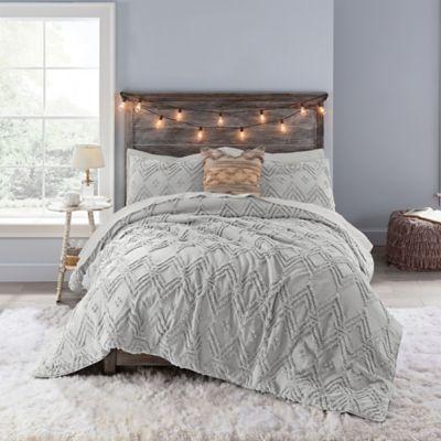 Anthology Chevron Tufted Full Comforter Set In Light Grey