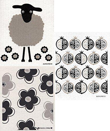 Swedish Dishcloth Ab Set Of 3 Black Bird Sheep Flowers Dish Cloths Sheep Kids Rugs