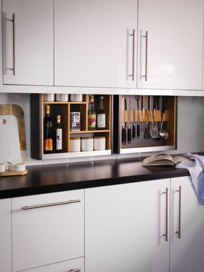 Hidden At The Back Of Your Wall Cabinets These Units Drop Down With The Aid Of A Motor T Kitchen Cabinet Storage Solutions Kitchen Cabinets Kitchen Technology