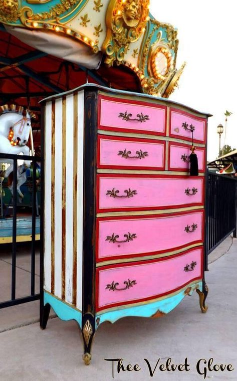 Pink, turquoise blue, black, white, gold striped, dresser