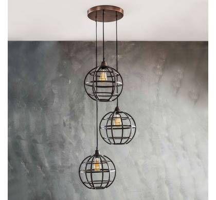 Landelijke Hanglamp 3 Lichts Rond Antiek Koper 7587 32 Hanglamp Industriele Hanglampen Lampen